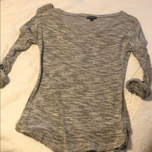 Grey scoop neck sweater with button detail sleeve